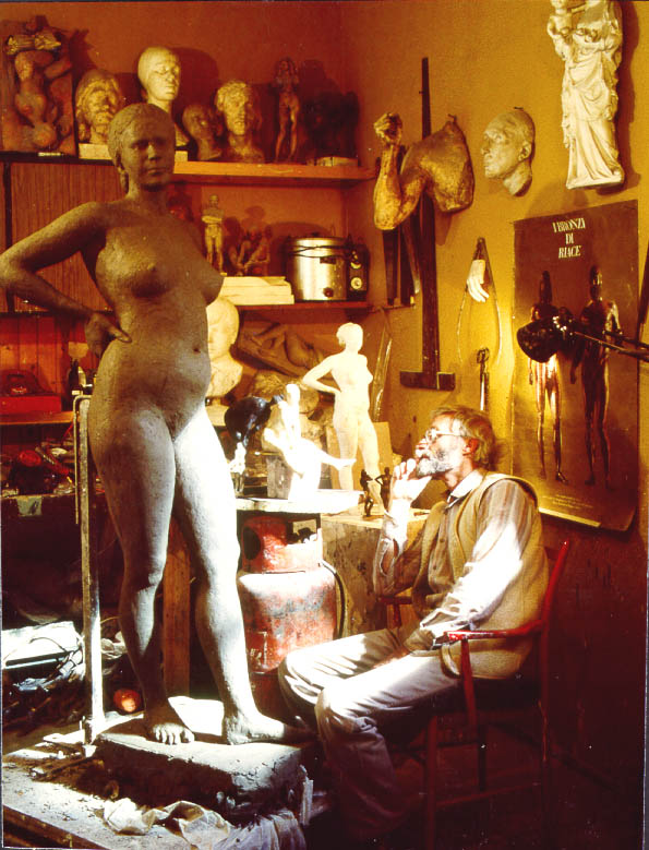 "Vincent Butler in his studio in Edinburgh working on the life size statue of ""Gaia"""